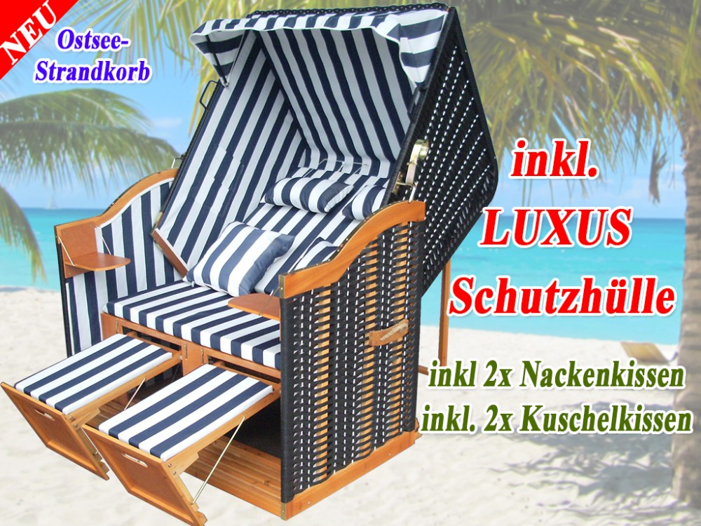 strandkorb ostsee blau schwarz kaufen inkl. Black Bedroom Furniture Sets. Home Design Ideas