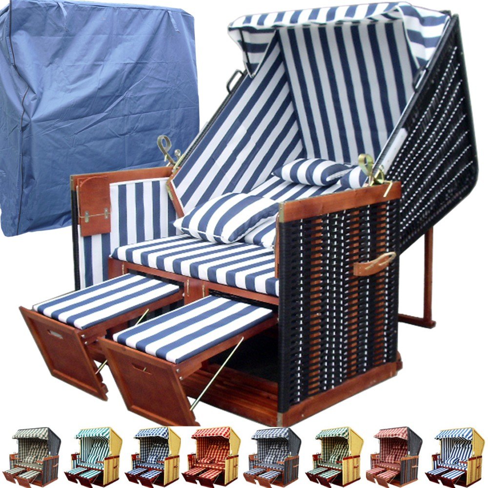 strandkorb xl inkl schutzh lle blau dunkelbraun xy 01 nordsee strandkorb. Black Bedroom Furniture Sets. Home Design Ideas