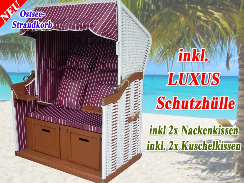 wei er strandkorb rustikal rot nadelstreifen strandkorbh lle ostsee strandkorb. Black Bedroom Furniture Sets. Home Design Ideas