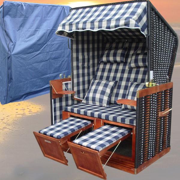 strandkorb xl karo blau inkl luxus schutzh lle nordsee strandkorb. Black Bedroom Furniture Sets. Home Design Ideas