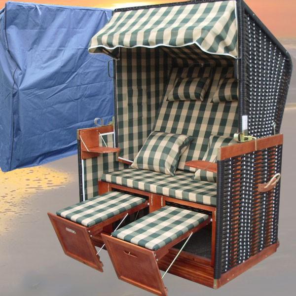 strandkorb xl karo gr n volllieger schutzh lle nordsee strandkorb. Black Bedroom Furniture Sets. Home Design Ideas