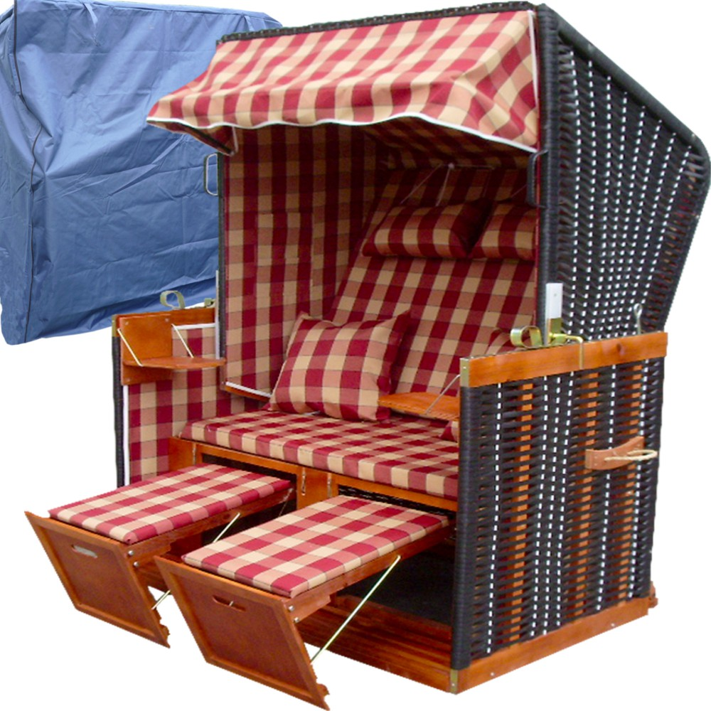 xl strandkorb nordsee schutzh lle karo rot nordsee. Black Bedroom Furniture Sets. Home Design Ideas