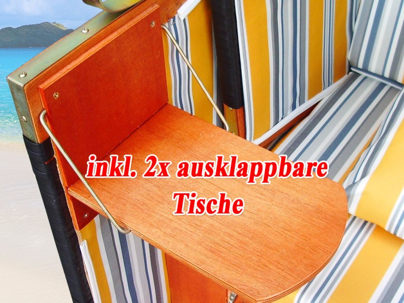 xl ostsee strandkorb gelb blau inkl schutzh lle ostsee strandkorb. Black Bedroom Furniture Sets. Home Design Ideas