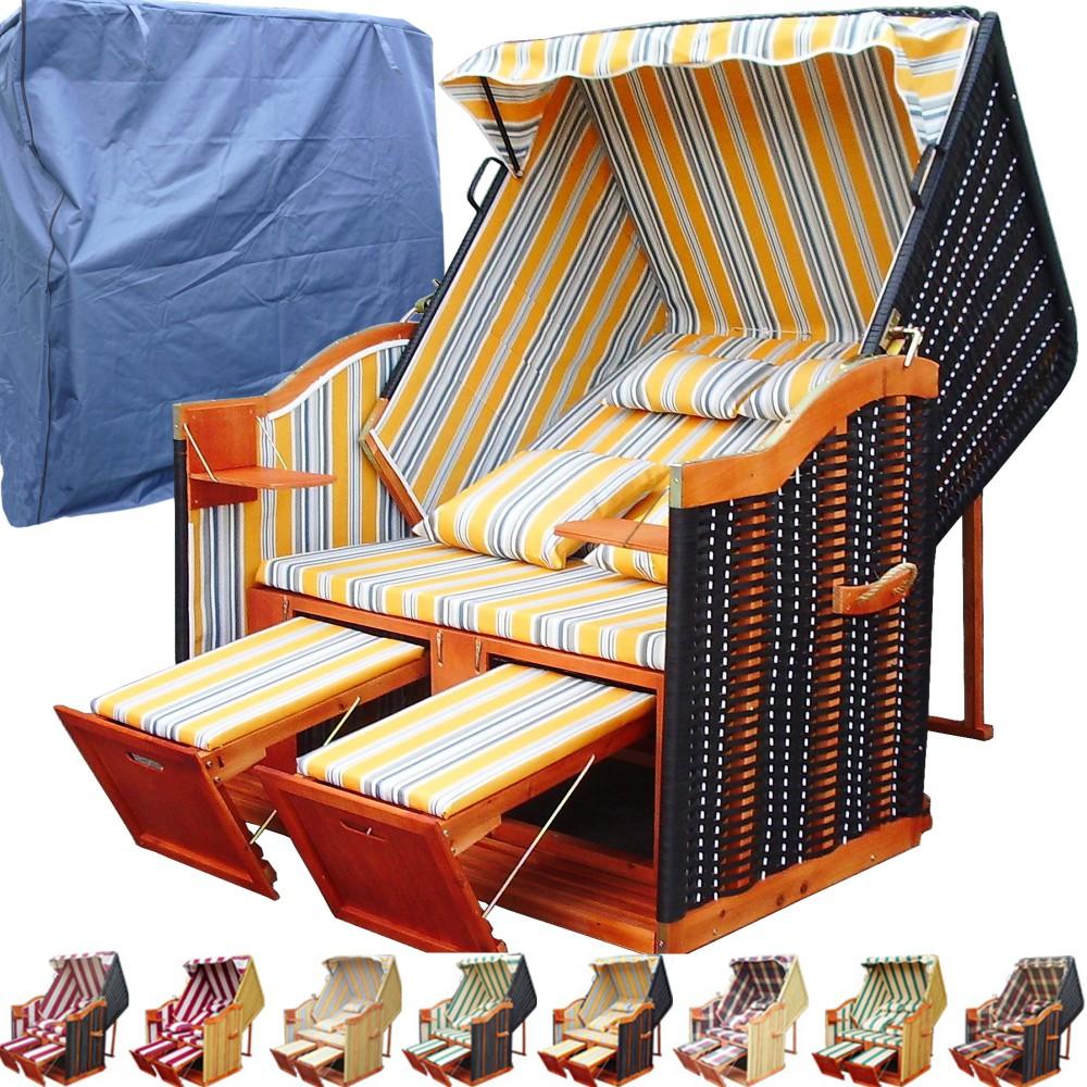 xl ostsee strandkorb gelb blau inkl schutzh lle ostsee. Black Bedroom Furniture Sets. Home Design Ideas