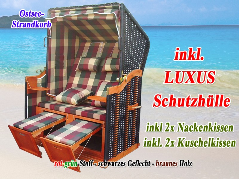 ostsee strandkorb rot gr n karo strandkorbh lle ostsee strandkorb. Black Bedroom Furniture Sets. Home Design Ideas