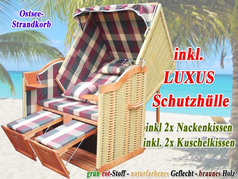 ostsee strandkorb rot gr n karo natur strandkorbh lle ostsee strandkorb. Black Bedroom Furniture Sets. Home Design Ideas